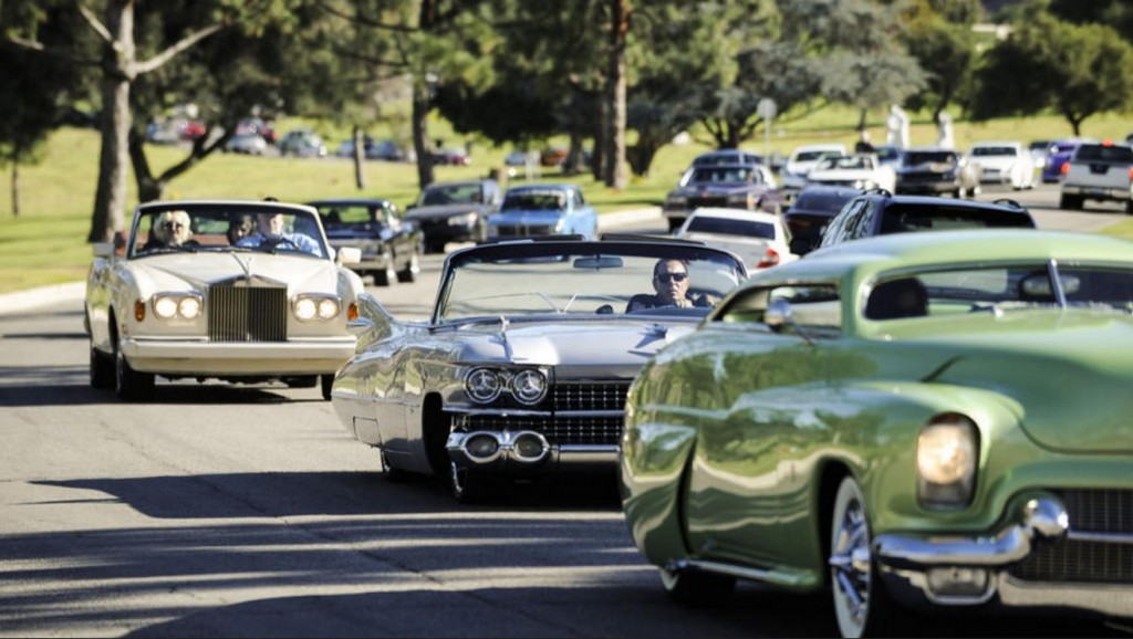 George Barris Funeral - Chopped Merc and Caddy - BatteryPete