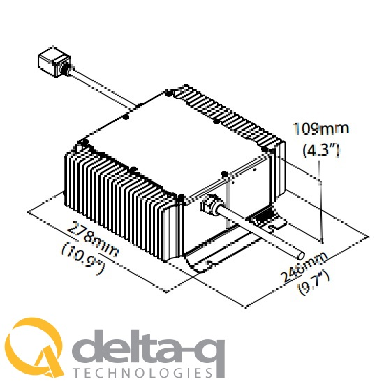 Delta Q QuiQ Battery Charger  Illustration Dimensions