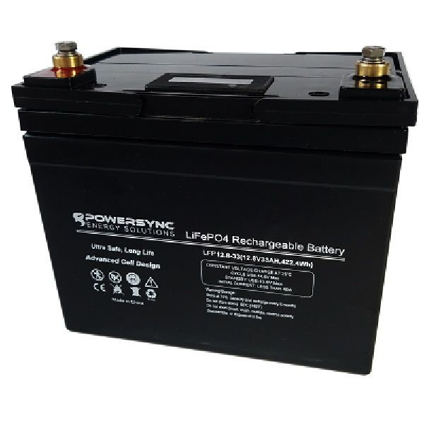 12 Volt Lithium Battery (LiFePO4) 12.8v 33Ah PowerPro PowerSync