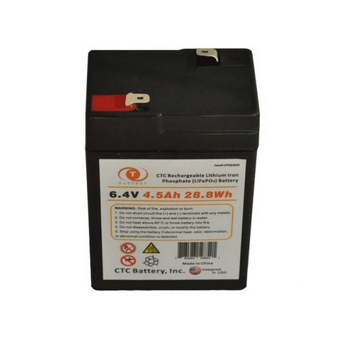CTC 6.4v Rechargeable Lithium Battery (LiFePO4) Lithium Iron Phosphate - 4.5Ah 28.8Wh - LFP064045