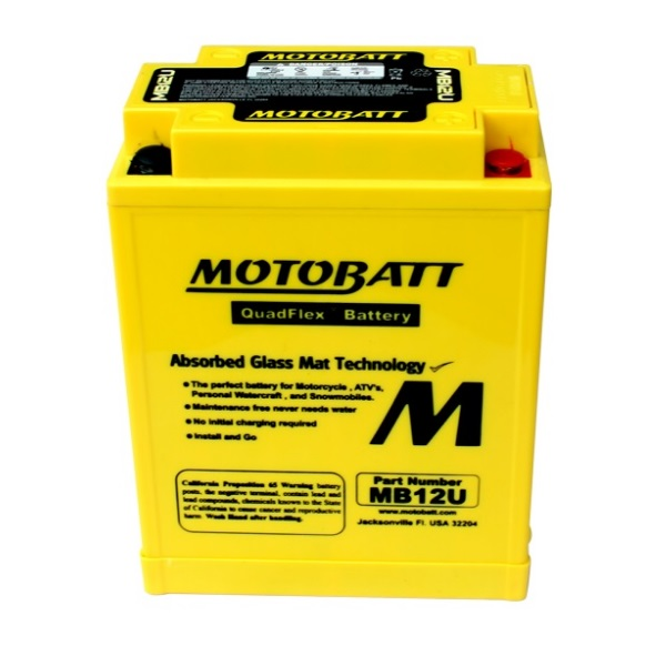 Motobatt MB12U AGM Battery - Front View