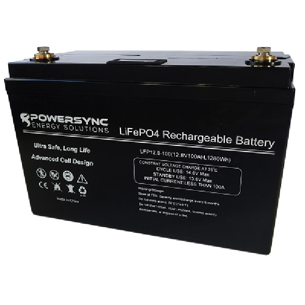 12 Volt Lithium Battery (LiFePO4) 12.8v 100Ah PowerPro PowerSync
