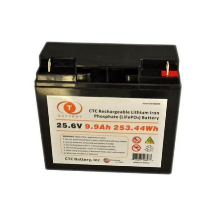 CTC Lithium Iron Phosphate (LiFePO4) Rechargeable Battery - 25.6V 9.9Ah 253.44Wh - LFP256099