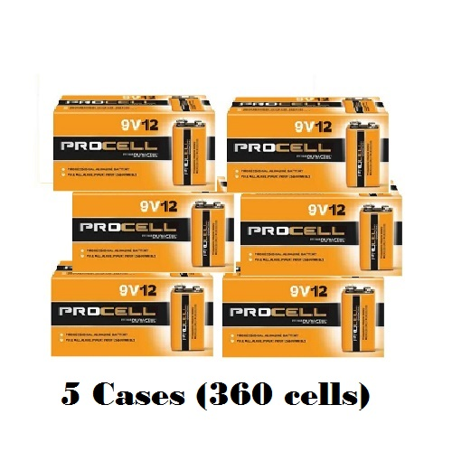 Duracell Procell 9 Volt Alkaline Battery 5 Cases of 72 (6/12 Packs) (PC1604)